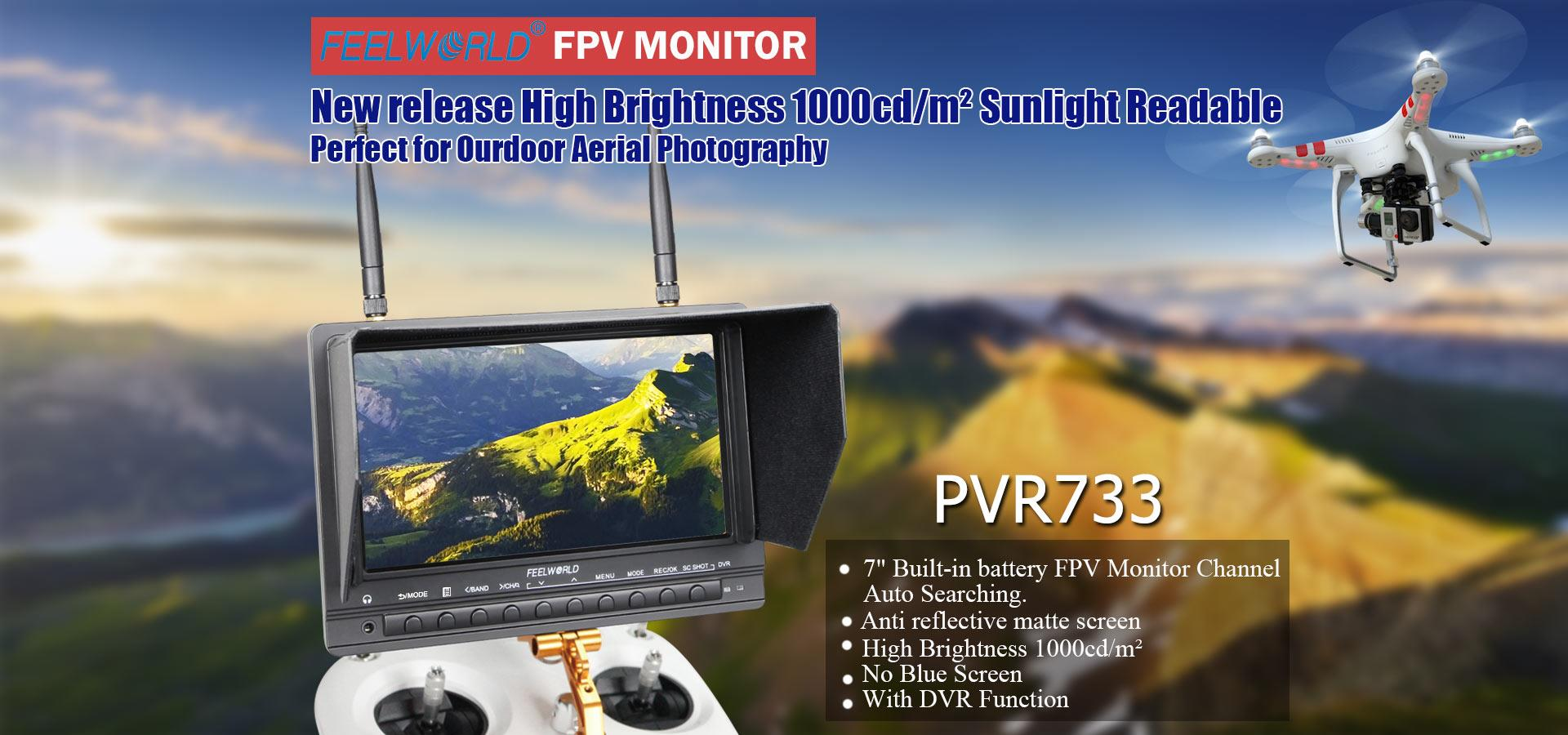 """7/"""" FPV Monitor with Dual 5.8GHz Channel Auto searching Function."""