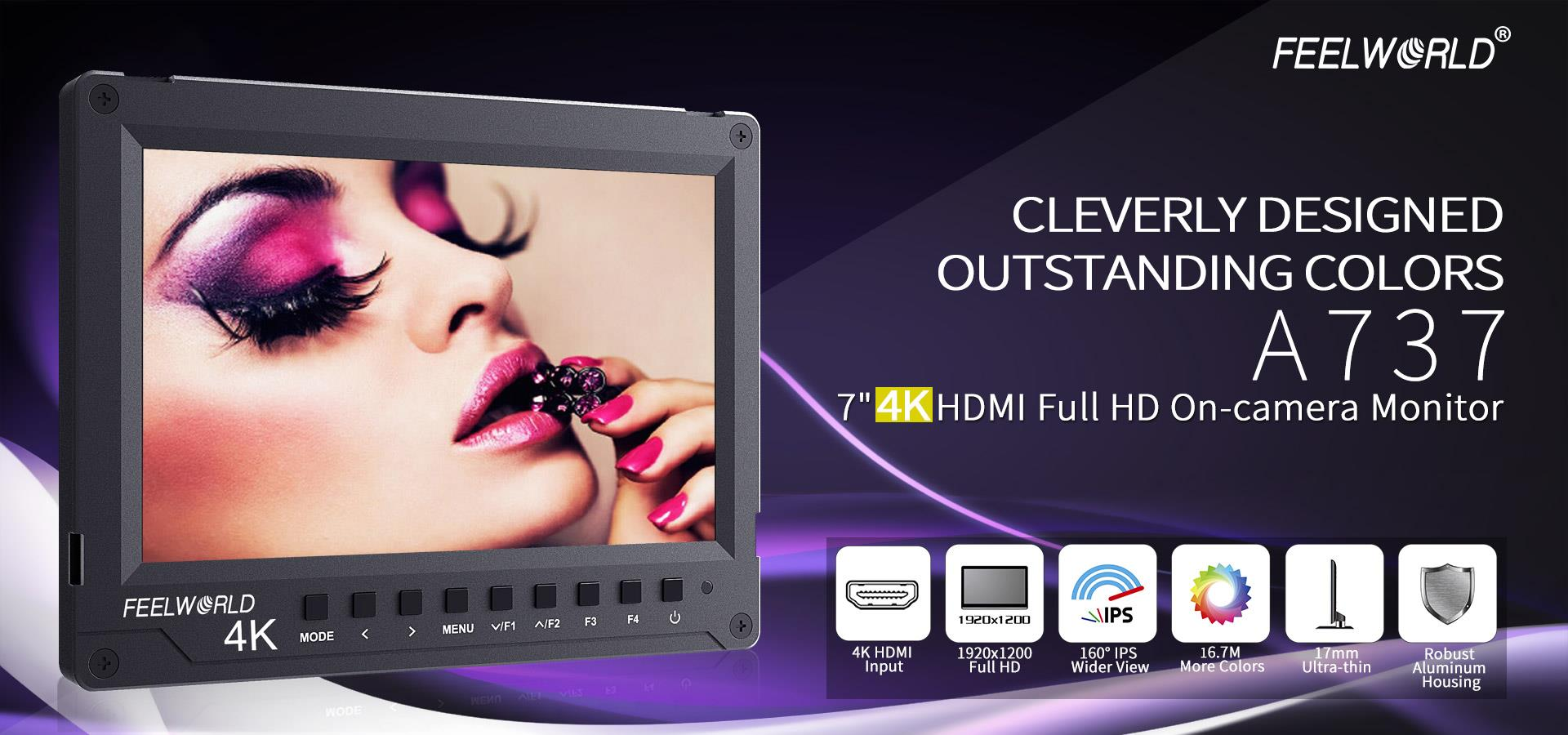 7 inch Aluminum Design 4K HDMI On-camera monitor